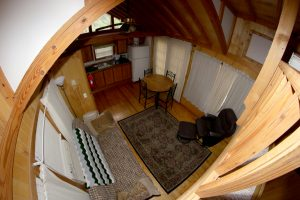 Cabin 11 living room and kitchen fish eye view
