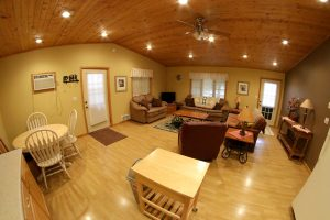 Cabin 15 living room area view from kitchen