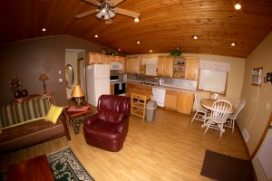 Cabin 15 - Living room and kitchen