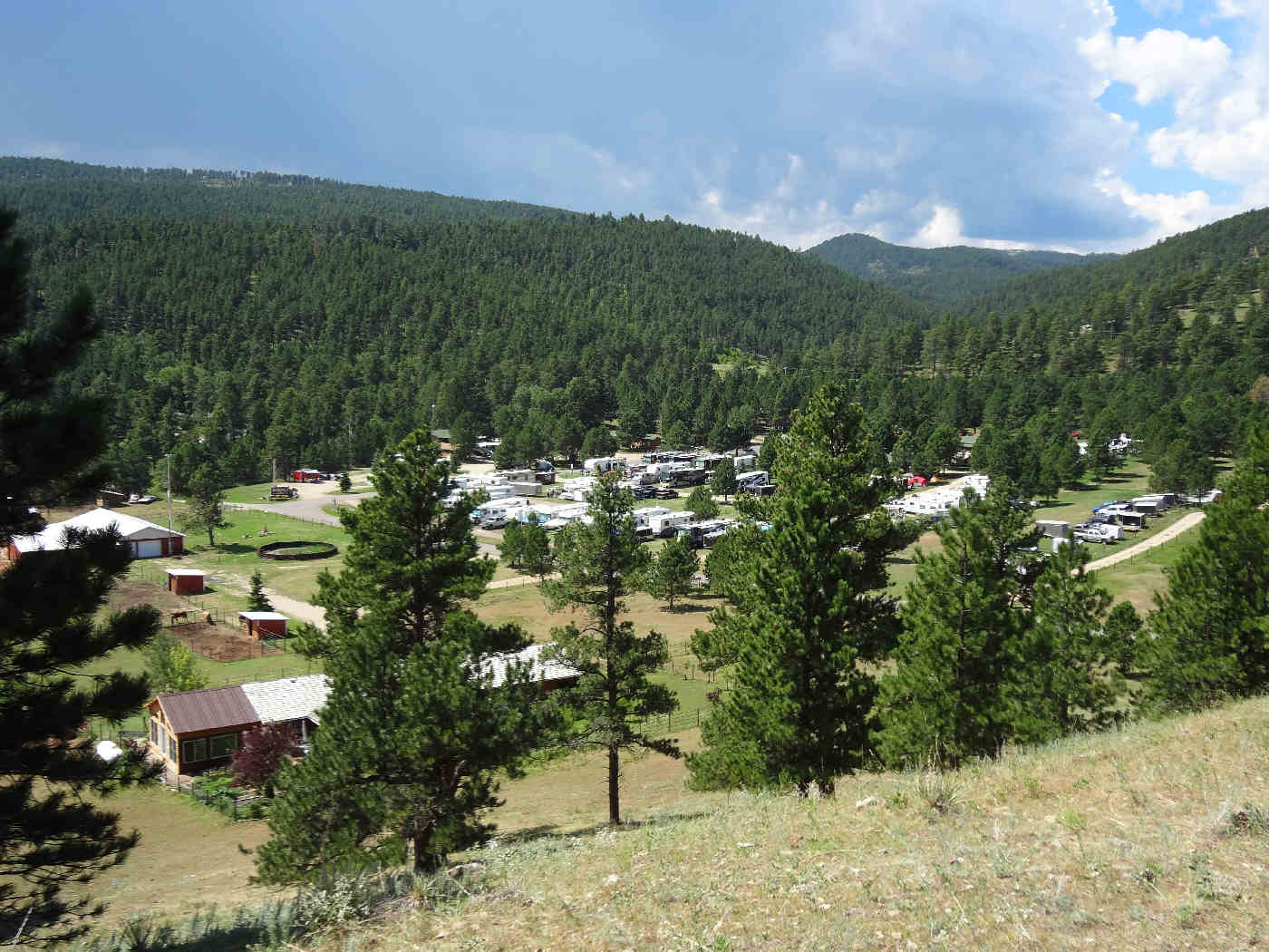 Aerial Shot (dwnhill) Rush No More Campground and Cabins Sturgis SD