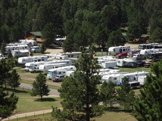 Aerial Shot RV Sites - Rush No More Campground and Cabins Sturgis SD