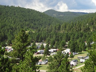 Aerial Shot RV Sites (dwnhill) - Rush No More Campground and Cabins Sturgis SD
