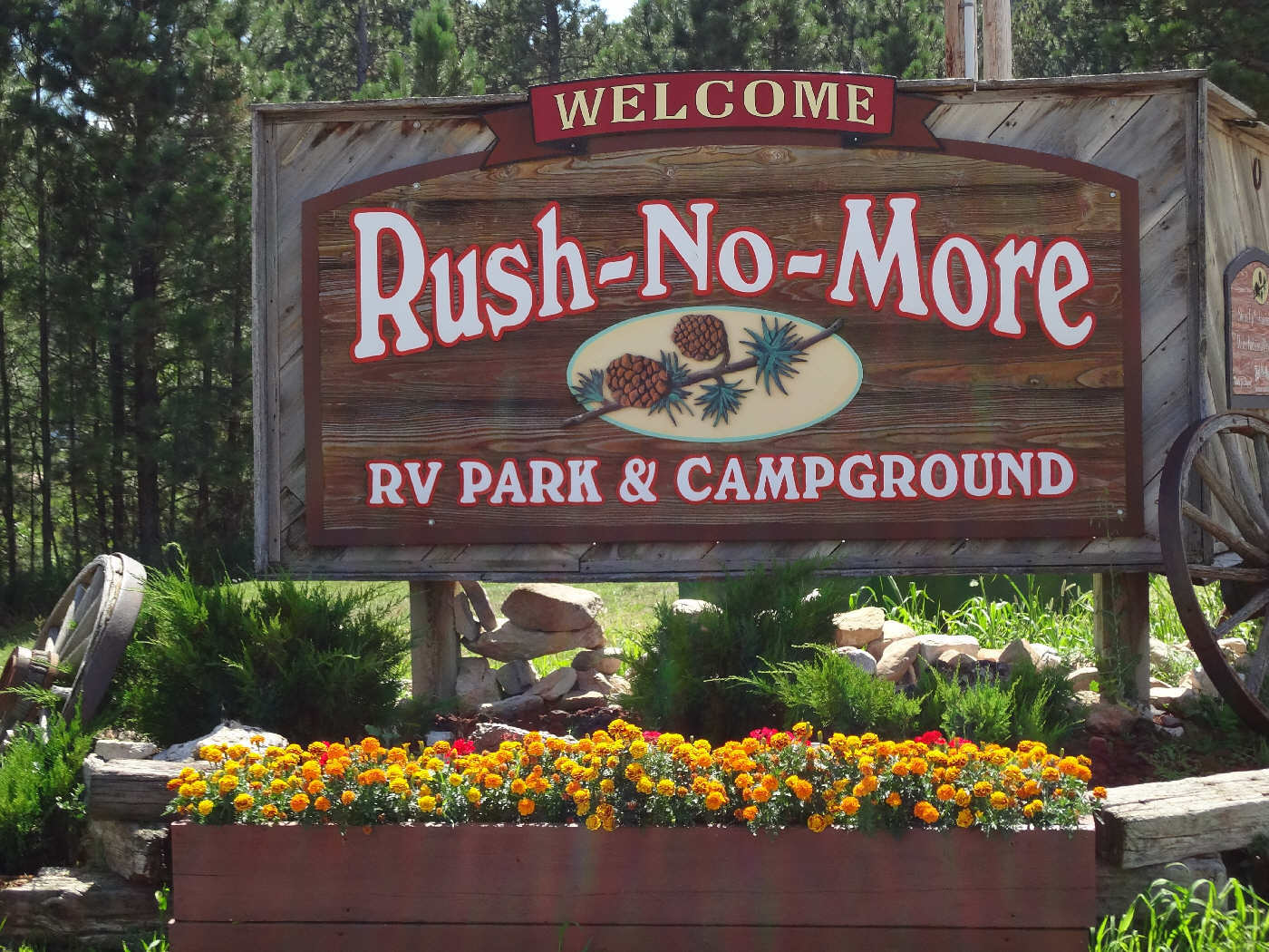 Entrance Sign Rush No More Campground and Cabins Sturgis SD