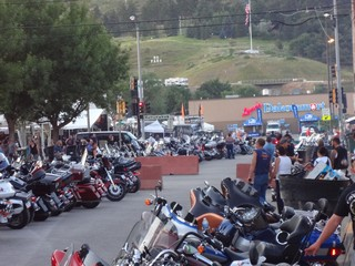 Parked bikes at Bike Rally Sturgis