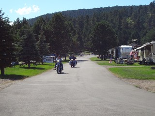 RNM Campground entrance road and bikers